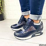 Женские кроссовки синие из эко кожи, фото 3