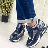 Женские кроссовки синие из эко кожи, фото 4