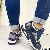 Женские кроссовки синие из эко кожи, фото 5