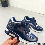 Женские кроссовки синие из эко кожи, фото 7