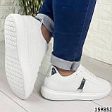 Жіночі кросівки білі на білій підошві, з еко шкіри, фото 2