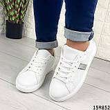 Жіночі кросівки білі на білій підошві, з еко шкіри, фото 3