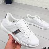 Жіночі кросівки білі на білій підошві, з еко шкіри, фото 4