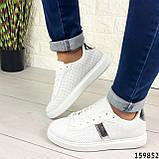 Жіночі кросівки білі на білій підошві, з еко шкіри, фото 5