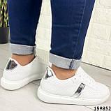 Жіночі кросівки білі на білій підошві, з еко шкіри, фото 6