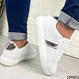 Жіночі кросівки білі на білій підошві, з еко шкіри, фото 7