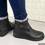 Жіночі черевики демісезонні чорні, з еко шкіри. Всередині текстильна підкладка, фото 2