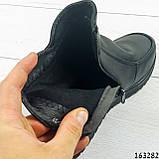 Жіночі черевики демісезонні чорні, з еко шкіри. Всередині текстильна підкладка, фото 3