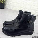 Жіночі черевики демісезонні чорні, з еко шкіри. Всередині текстильна підкладка, фото 4