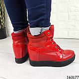 Женские ботинки демисезонные красные на танкетке из эко кожи. Внутри текстильная подкладка, фото 6