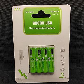Аккумулятор ААА Soshine 1,2v 400mAh с зарядкой от microUSB ( 4шт. )