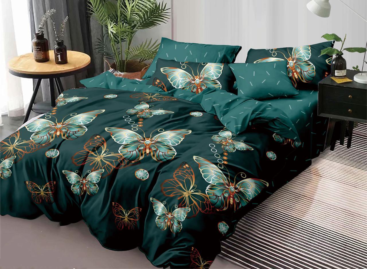 Двуспальный комплект постельного белья евро на резинке 200*220 сатин (17309) TM КРИСПОЛ Украина