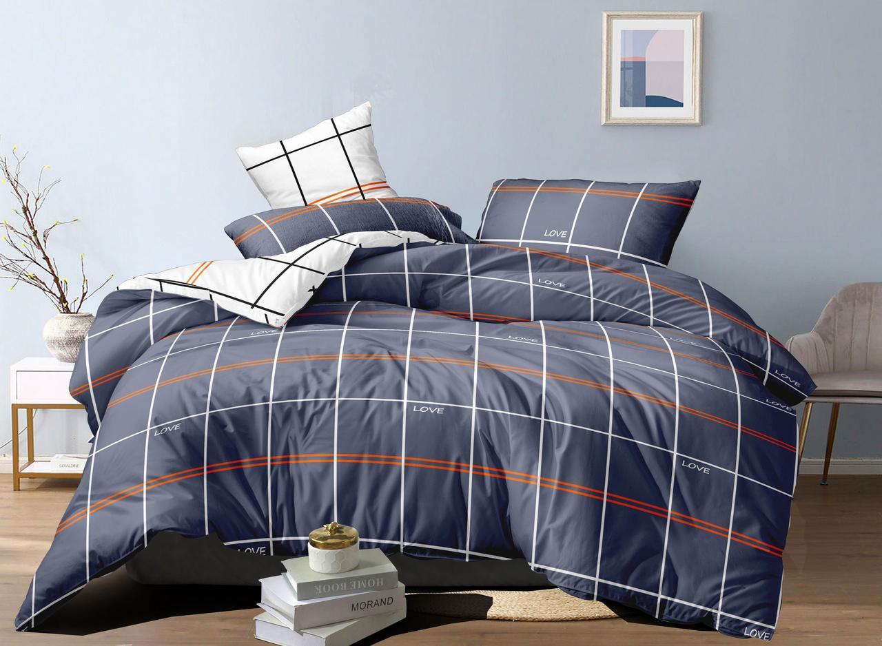 Двуспальный комплект постельного белья евро на резинке 200*220 сатин (17310) TM КРИСПОЛ Украина