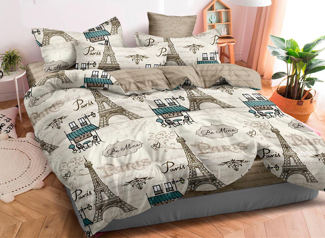 Двуспальный комплект постельного белья на резинке 180*220 сатин (17302) TM КРИСПОЛ Украина