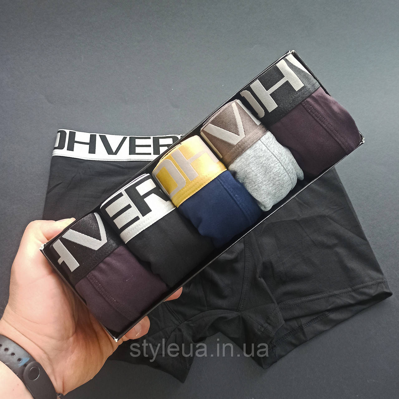 Чоловічі труси-боксери брендові 5 штук / Комплект чоловічих трусів фирменой упаковці