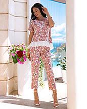 Молодіжний літній жіночий брючний костюм з тонкої тканини шовк армані, фото 2