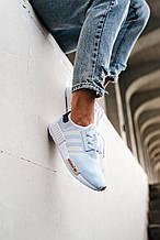 💕 Кроссовки женские Adidas NMD R1 голубые летние легкие в сеточку адидас нмр для бега