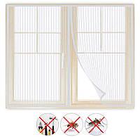 Москитная сетка штора на окно, на магнитах, 150х150 см., Белая