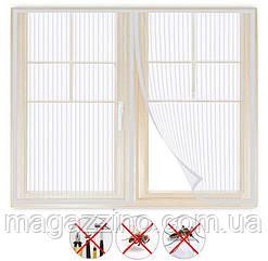 Москітна сітка штора на вікні, на магнітах, 150х150 див., Біла