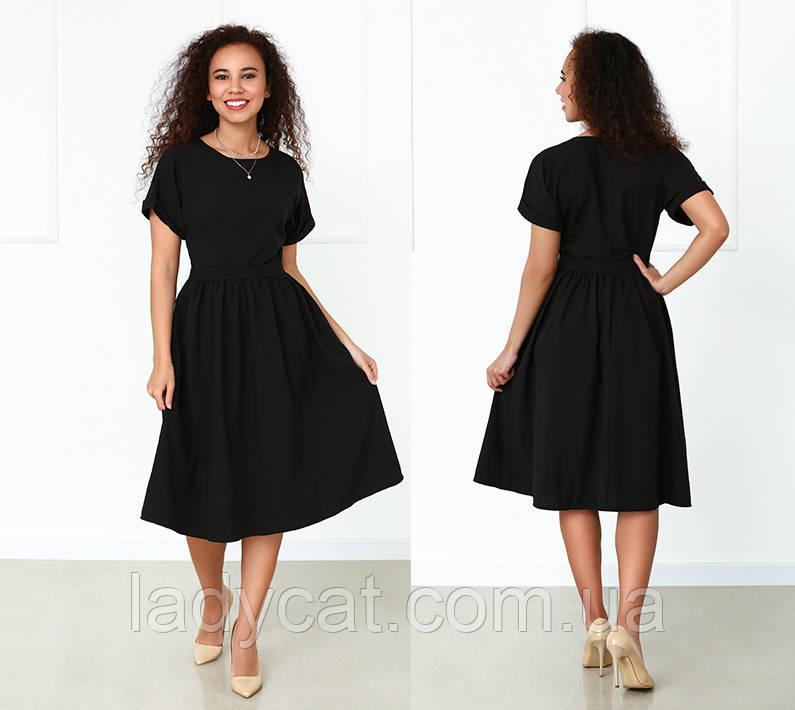 Літній чорна сукня вільного крою з короткими рукавами