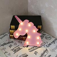 Ночник светильник единорог для детской на батарейках розовый