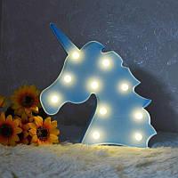 Ночник светильник единорог для детской на батарейках голубой