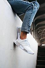 💕 Кроссовки женские Adidas NMD R1 белые летние легкие в сеточку адидас нмр для бега