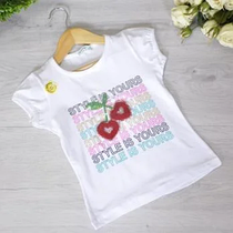 Дитяча футболка з трикотажу, для дівчаток 5-8 років (4 од. уп)