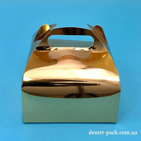 """Коробка для десертів """"Міні"""" 116х116х64 мм, золото, фото 2"""