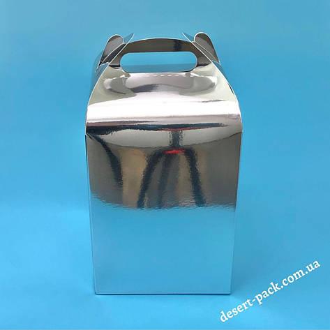 """Коробка для подарунків  """"Міді"""" 120х120х162 мм, срібло, фото 2"""