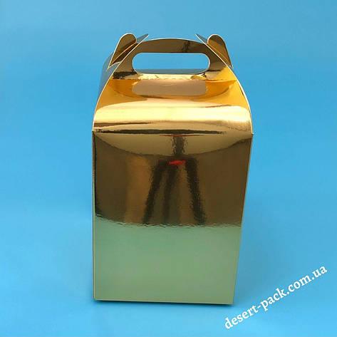 """Коробка для подарунків """"Міді"""" 120х120х162 мм, золото, фото 2"""