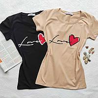 "Женская футболка норма ""Love"" - черный, беж, желтый"