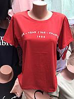 Женская футболка свободного кроя с мелкой надписью - ОПТОМ!