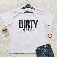 """Женская футболка свободного кроя В СТРАЗАХ """"Dirty"""" - ОПТОМ!"""
