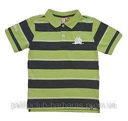 Детская летняя футболка-поло в темно-сине-салатовую полоску для мальчика (Quadri Foglio, Польша)
