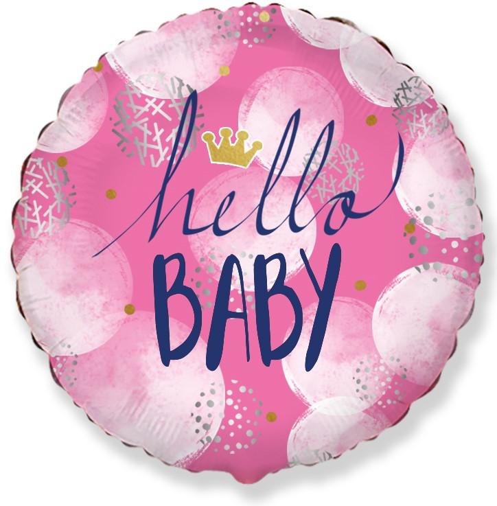 """Коло фольговане 18"""" Hello Baby дівчинка FLEXMETAL"""