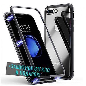 Магнітний чохол для iPhone 7+ /8+ чорний | Magnetic adsorption phone case black скляний на айфон 7 plus плюс