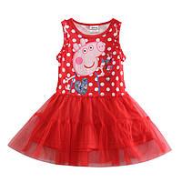 Детское летнее красное платье в белый горох Свинка Пеппа