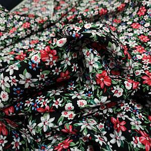Ткань штапель черный в мелкий цветочек