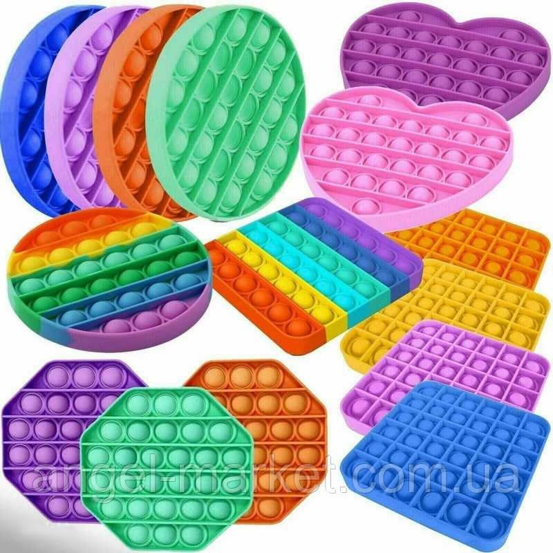 Поп ит сенсорная игрушка антистресс для детей и взрослых с пупырками квадрат круг сердце многоугольник