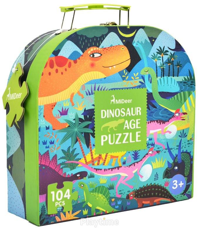 Пазл в чемоданчике Век Динозавров MiDeer 104 элемента