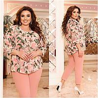 Красивий жіночий стильний ошатний батальний костюм-двійка: шифонова блузка + штани (р. 48-62). Арт-2079/42, фото 1