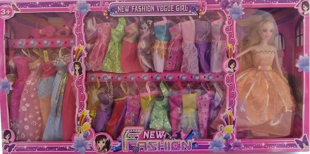 Детский игровой набор кукла с платьями.Кукла с гардеропом