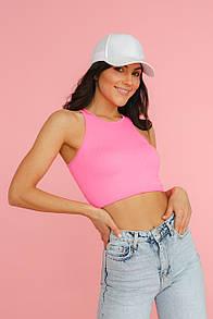 Жіноча майка в рубчик в стилі спорт-шик в рожевому кольорі