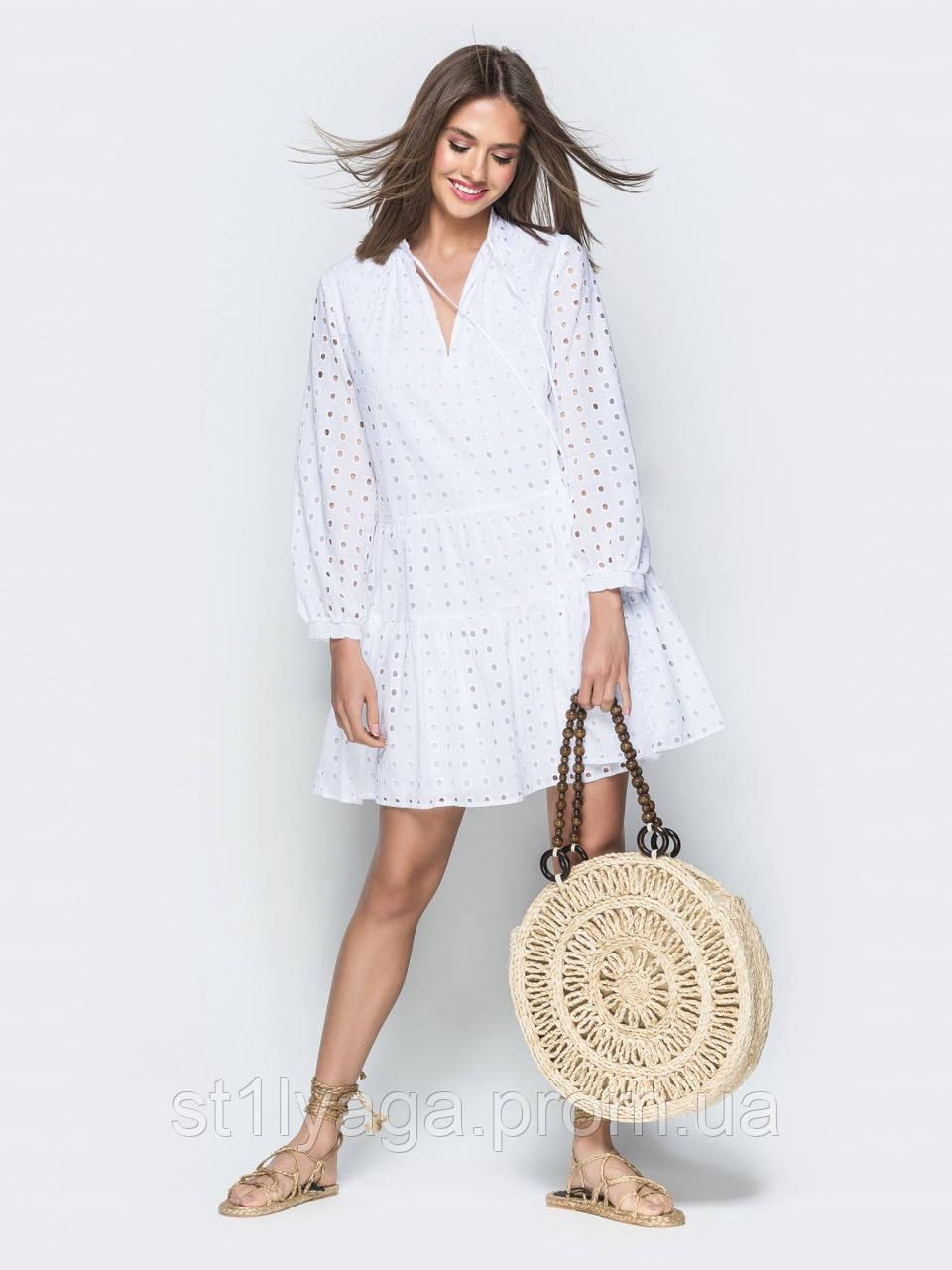 Сукня-трапеція з прошвы з мереживною вишивкою ЛІТО