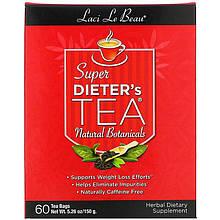 """Травяной чай для похудения Natrol, Laci Le Beau """"Super Dieter's Tea"""" без кофеина, 60 пакетиков (150 г)"""