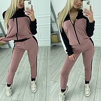 Женский спортивный костюм с лампасами по бокам , 2021 : пудра розовый салатовый 42-44 44-46 48-50 52-54