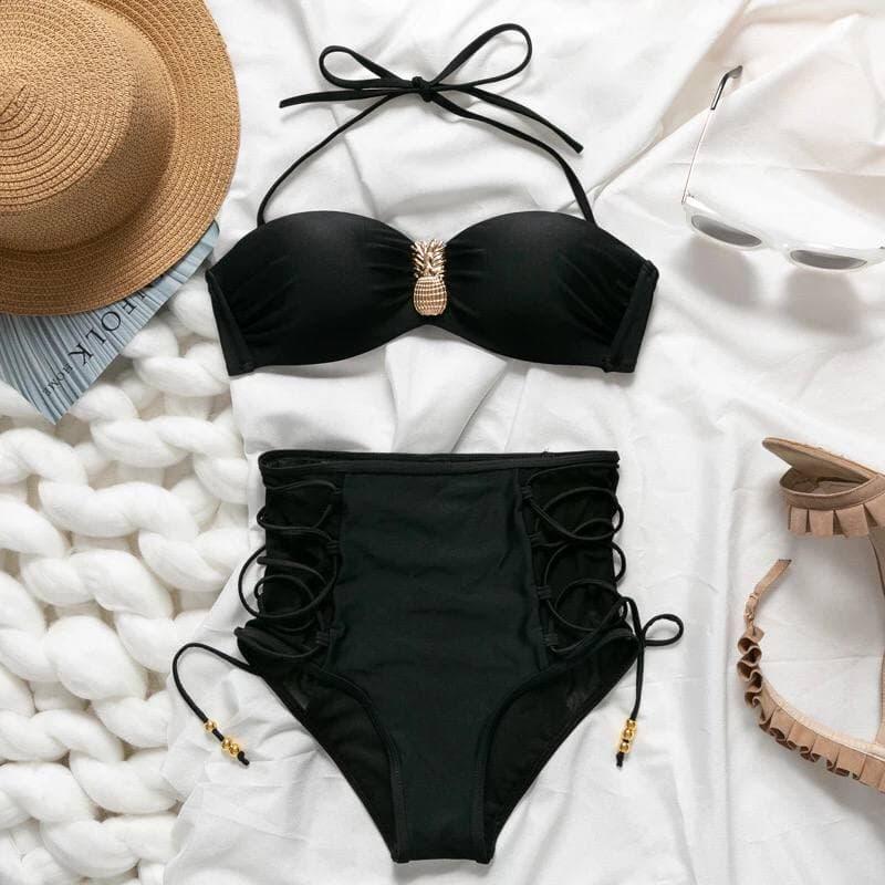 Раздельный черный купальник с плавками на высокой посадке и шнуровкой Black