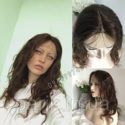 💎Парик женский кудрявый коричневый без чёлки, из натуральных волос💎