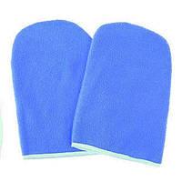 Варежки для парафинотерапии рукавички махра ГОЛУБОЙ